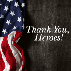 American Flag and Thank You, Heroes!