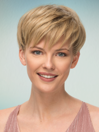 Short blonde hair with hair color