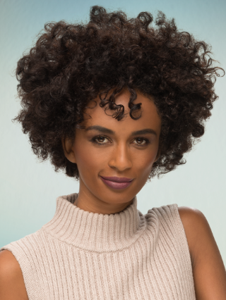 Hair model with curly hair